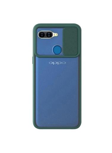 Microsonic Oppo A12 Kılıf Slide Camera Lens Protection Kırmızı Yeşil